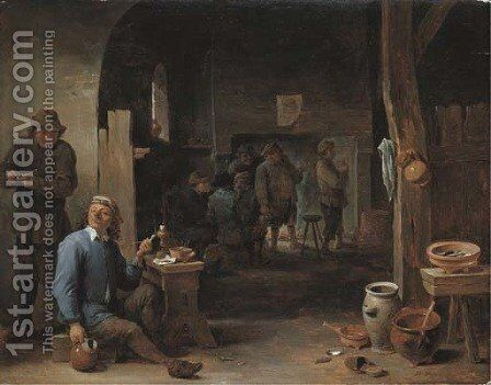 The interior of an inn with peasants smoking by a table and conversing before a fire by David III Teniers - Reproduction Oil Painting
