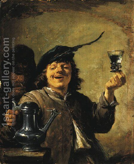 The Sense of Taste A man raising a glass, a man smoking behind by David III Teniers - Reproduction Oil Painting