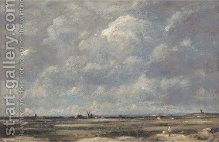 Figures in an expansive landscape, a windmill beyond by David Thomas Muirhead - Reproduction Oil Painting