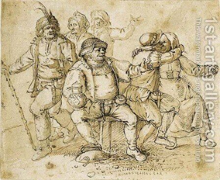A group of peasants merrymaking by David Vinckboons - Reproduction Oil Painting