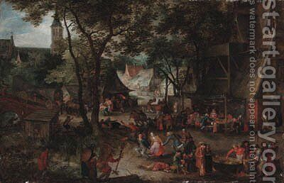 A village wedding, with peasants merrymaking by David Vinckboons - Reproduction Oil Painting