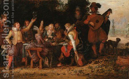 Elegant company feasting, with musicians beneath an arbour, a palace and ornamental garden beyond by David Vinckboons - Reproduction Oil Painting