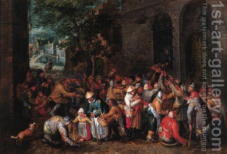 Feeding the poor by David Vinckboons - Reproduction Oil Painting