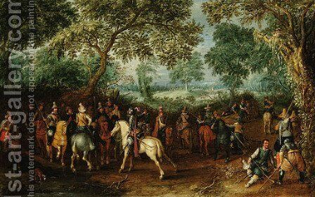 Soldiers in a forest clearing by David Vinckboons - Reproduction Oil Painting