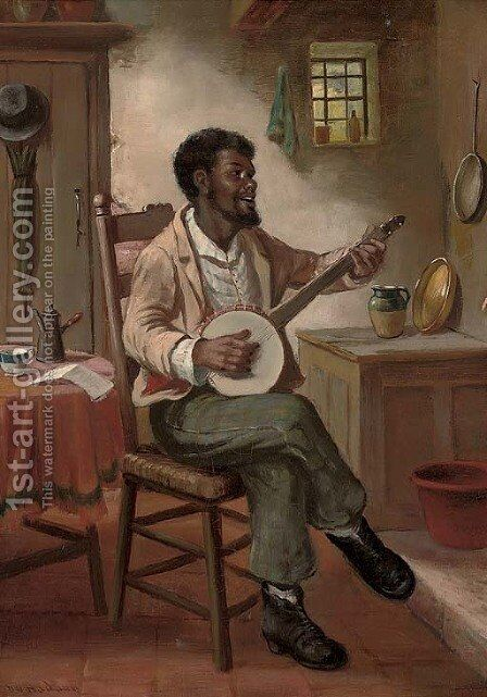 The banjo player by David W. Haddon - Reproduction Oil Painting