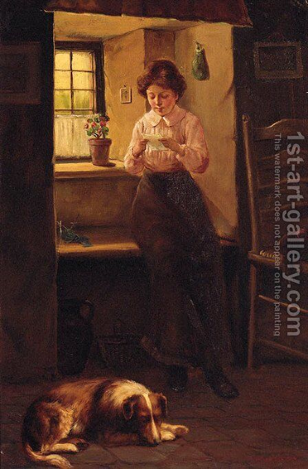 The Love Letter by David W. Haddon - Reproduction Oil Painting