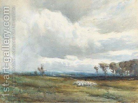 A shepherd tending his flock before an approaching storm by David West - Reproduction Oil Painting