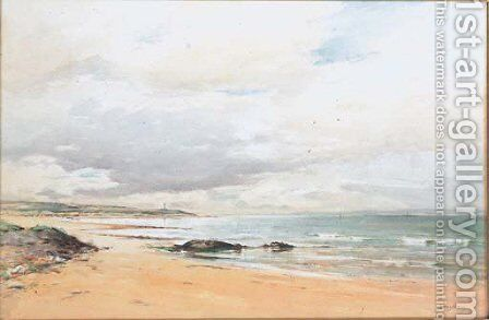 A coastal landscape with a lighthouse in the distance by David West - Reproduction Oil Painting