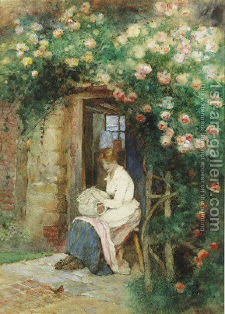 The lacemaker's cottage by David Woodlock - Reproduction Oil Painting
