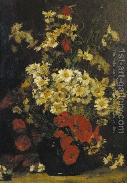 A still life with poppies and daisies by Denis Pierre Bergeret - Reproduction Oil Painting