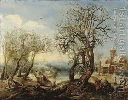 An extensive winter river landscape with the Flight into Egypt, a sportsman and his hound, a wood gatherer trundling a wheelbarrow and a peasant woman by Denys Van Alsloot - Reproduction Oil Painting