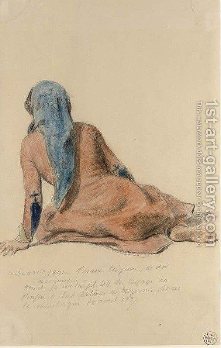 A gipsy woman, seated, seen from behind by Auguste Raffet - Reproduction Oil Painting