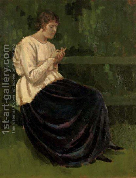 Lyndra in a white smock by Derwent Lees - Reproduction Oil Painting
