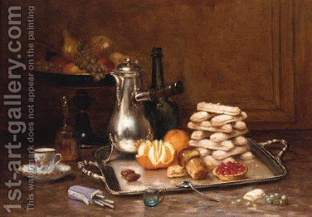 A coffee-pot, a peeled orange, a stack of meringues and a fruit tart on a silver tray by Desire Alfred Magne - Reproduction Oil Painting