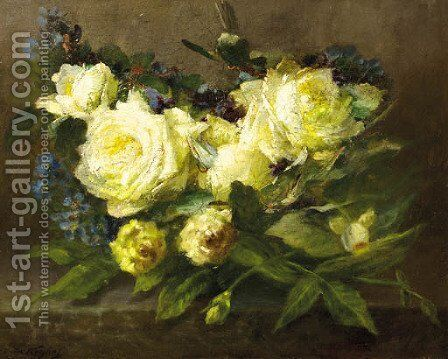 Still life with yellow roses and forget-me-nots by Desire de Keghel - Reproduction Oil Painting