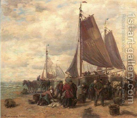 Sorting the catch on the beach of Dunkirk by Desire Thomassin - Reproduction Oil Painting