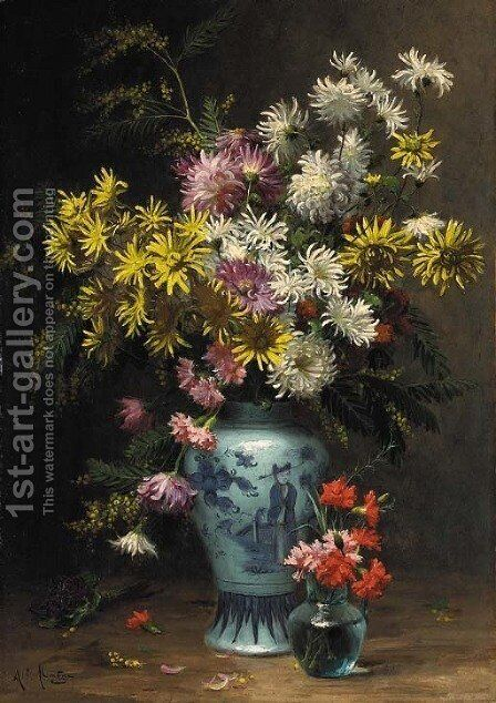 Floral arrangement in an oriental vase by Desire Alfred Magne - Reproduction Oil Painting