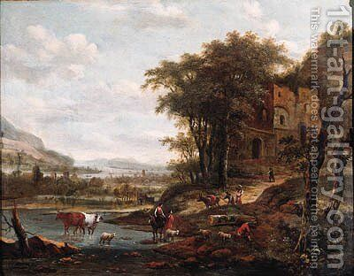 Drivers watering cattle and muleteers on a path in a mountainous river landscape by Dionys Verburgh - Reproduction Oil Painting
