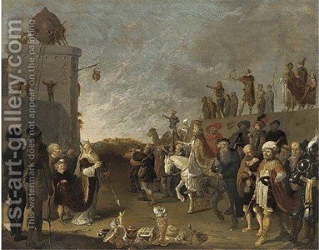 An Allegorical Scene with Moses and Aaron and a Pope by Dirck Gerritsz Bleker - Reproduction Oil Painting