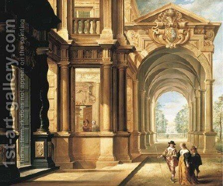 A fantastical palace with an elegant couple walking in front of a portico by Dirck Van Delen - Reproduction Oil Painting