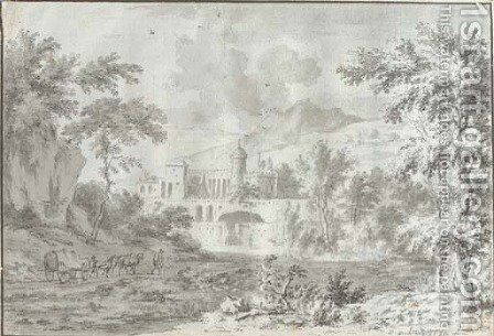 An Italianate landscape with a fortified villa by Dirck Dalens II - Reproduction Oil Painting
