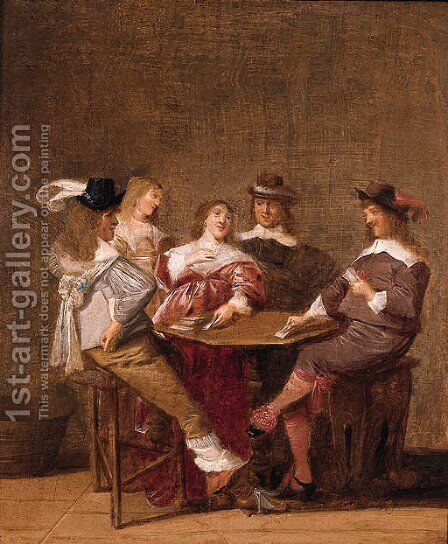 A company at table engaged in a game of cards by Dirck Hals - Reproduction Oil Painting