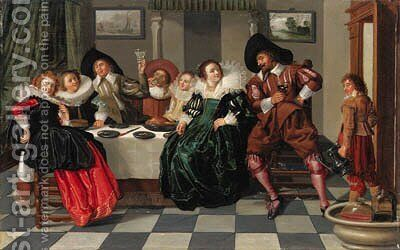 Elegant company at table in an interior by Dirck Hals - Reproduction Oil Painting