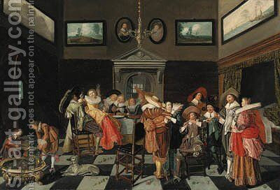 Elegant company making music and carousing in an interior by Dirck Hals - Reproduction Oil Painting