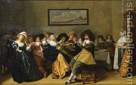 Elegant company merry making in an interior by Dirck Hals - Reproduction Oil Painting