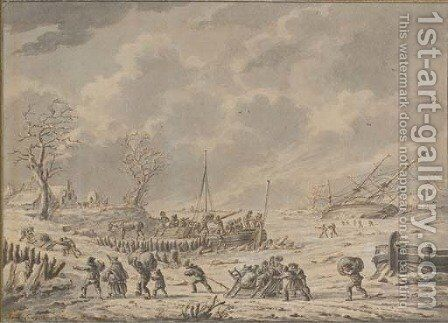 A winter landscape with figures unloading goods from a boat, with a shipwreck in a frozen river beyond by Dirck Langendijk - Reproduction Oil Painting
