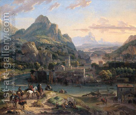 A Rhenish landscape with horsemen and peasants on a path by a river, a village and mountains beyond by Dirck Maas - Reproduction Oil Painting