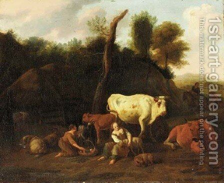 A farmyard landscape with drovers by Dirk van Bergen - Reproduction Oil Painting