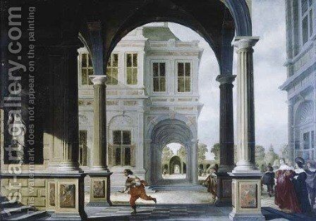 The forecourt of a Renaissance palace with a herald running to the stairs by Dirck Van Delen - Reproduction Oil Painting