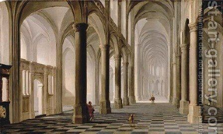 The interior of a church with figures by Dirck Van Delen - Reproduction Oil Painting