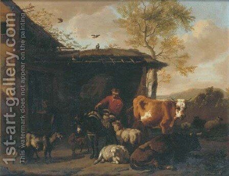 A rustic by a barn with his donkey and other animals by Dirk van Bergen - Reproduction Oil Painting