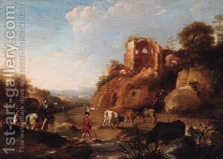 An Italianate landscape with drovers by a stream, classical ruins on a hill beyond by Dirck van der B Lisse - Reproduction Oil Painting