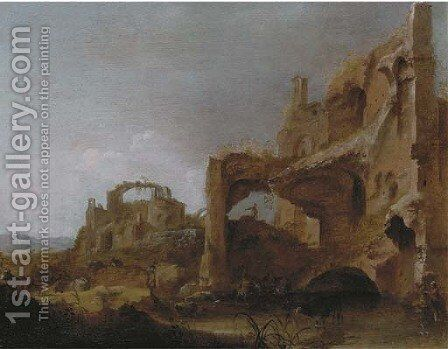 An Italianate landscape with herdsmen watering cattle among classical ruins by Dirck van der B Lisse - Reproduction Oil Painting