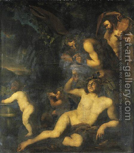 Bacchus drinking in the company of two satyrs and two putti by Dirck Van Voorst - Reproduction Oil Painting