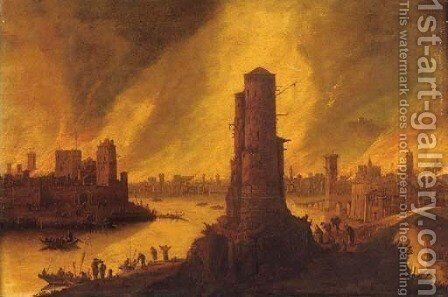 A burning city by a river with figures fleeing in the foreground by Dirck Verhaert - Reproduction Oil Painting