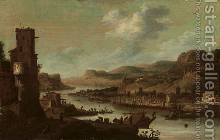 A mountainous river landscape with figures on moored ships near a ruined tower, a fortified town on the opposite river bank by Dirck Verhaert - Reproduction Oil Painting