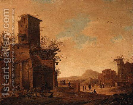 Peasants and Goats by Ruins in an Italianate Landscape by Dirck Verhaert - Reproduction Oil Painting
