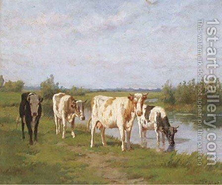 A summers day in Holland by Dirk Peter Van Lokhorst - Reproduction Oil Painting