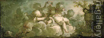 An overdoor Putti desporting on clouds by a vase on pedestal by Dirk Van Der Aa - Reproduction Oil Painting