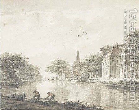 A riverbank with houses and fishermen by Theodor (Dirk) Verrijk - Reproduction Oil Painting