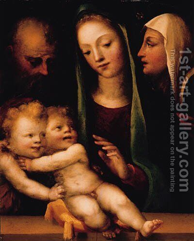 The Holy Family with the Infant Saint John the Baptist and Saint Catherine of Siena by Domenico Beccafumi - Reproduction Oil Painting