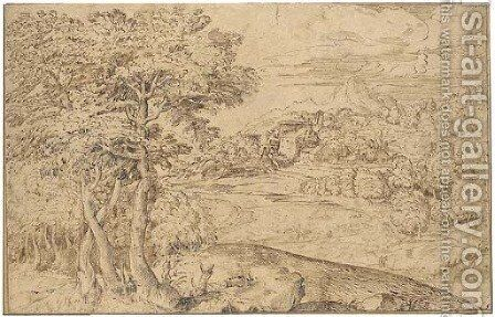 An extensive landscape with shepherds and their flocks below a town by Domenico Campagnola - Reproduction Oil Painting