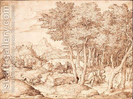An extensive mountainous landscape with Cephalus and Procris by Domenico Campagnola - Reproduction Oil Painting
