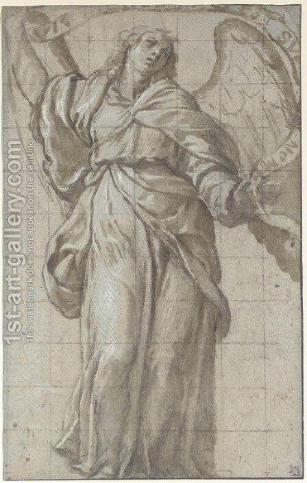 An angel looking up, holding a scroll by Domenico Caresana - Reproduction Oil Painting