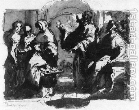 A monk kneeling with a plate before a seated bishop, with attendants by Domenico Cresti  (see Passignano) - Reproduction Oil Painting