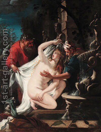 Susannah and the Elders by Domenico Guarino - Reproduction Oil Painting